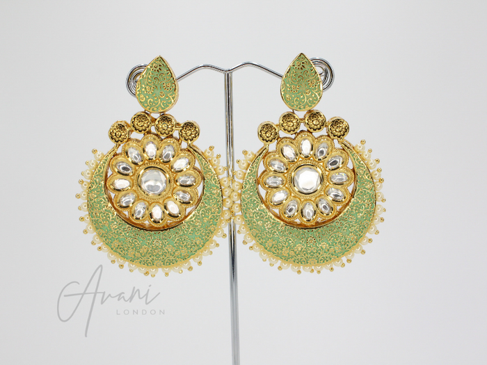 Nivani Signature Meenakari Mint Earrings | Avani London | Inspirational Indian Jewellery