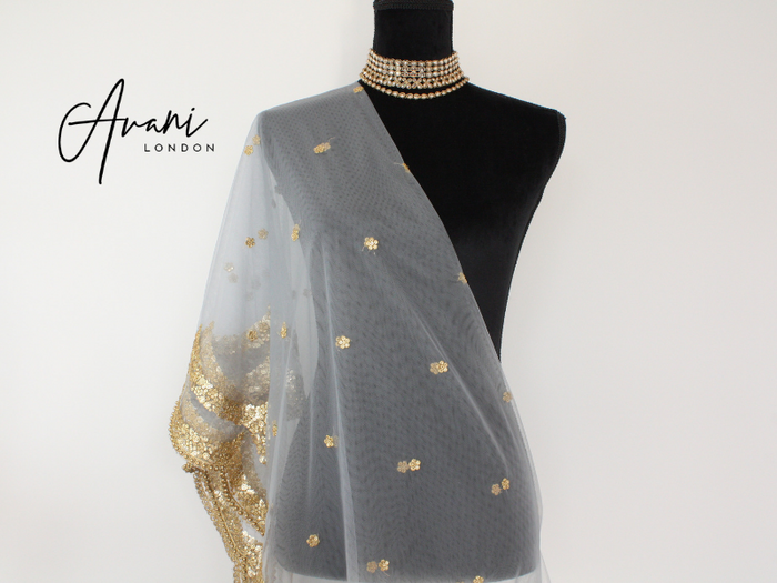 Grey Soft Net Dupatta | Avani London | Inspirational Indian Jewellery
