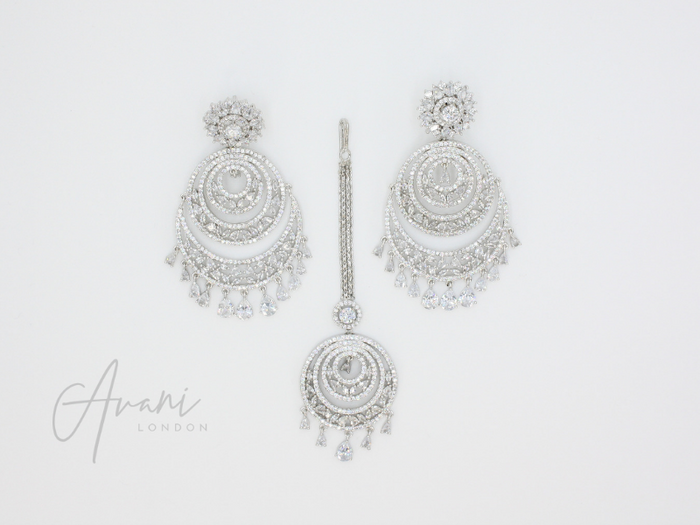 Rhea Signature 'Diamond Cut' Silver Earring and Tikka Set | Avani London | Inspirational Indian Jewellery