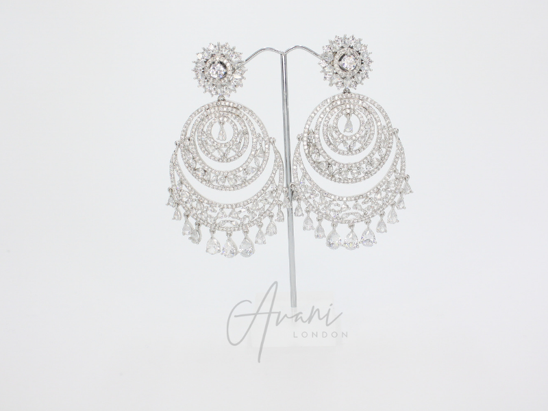 Rhea Signature Silver Earring and Tikka Set | Avani London | Inspirational Indian Jewellery