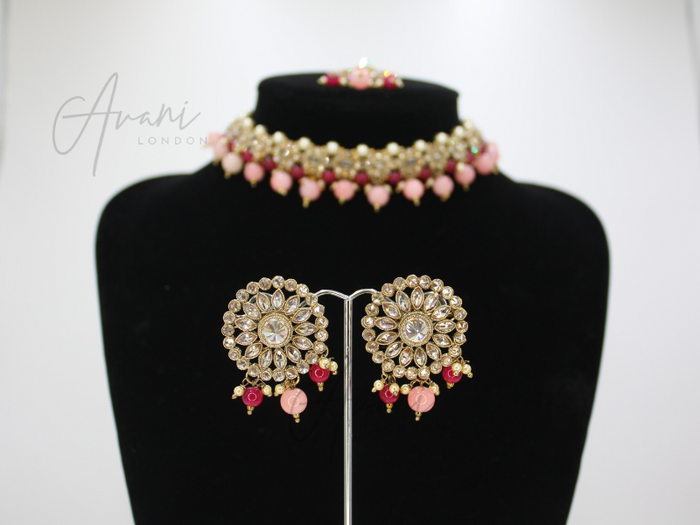 Mya Choker and Earring Set - Fuschia and Baby Pink