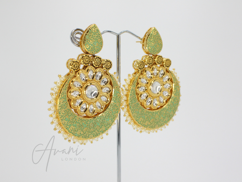 Nivani Signature Meenakari Mint Earrings