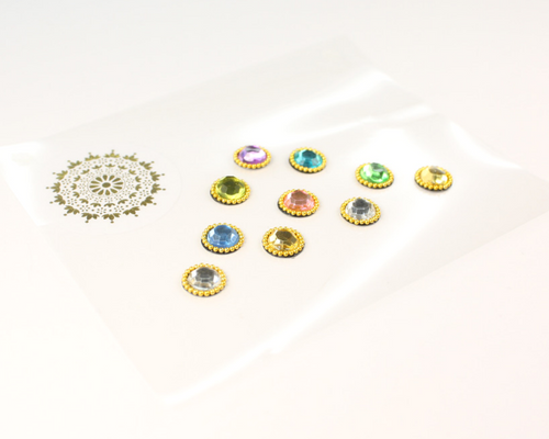 10 Multicoloured Pastel Gem Bindis with Gold Beading | Avani London | Inspirational Indian Jewellery