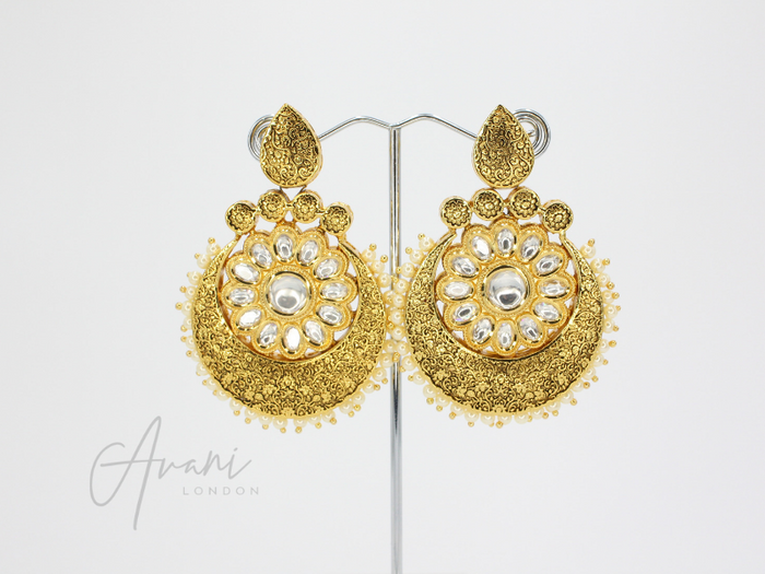 Nivani Signature Meenakari Black Earrings | Avani London | Inspirational Indian Jewellery