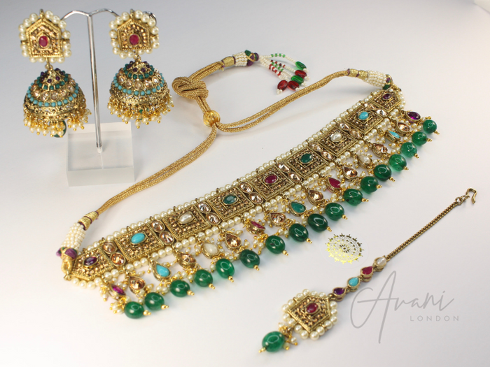 Krisha Multicoloured with Emerald Beads | Avani London | Inspirational Indian Jewellery