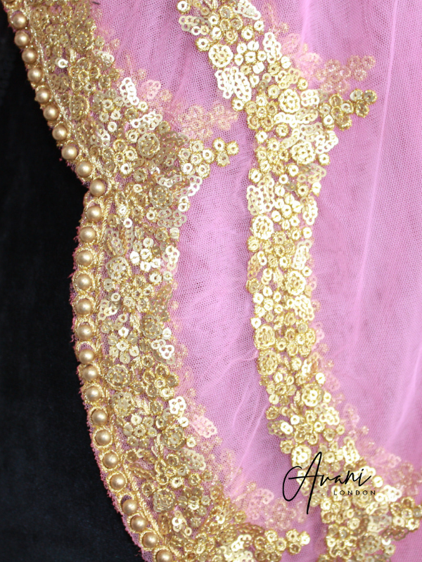Baby Pink Soft Net Dupatta | Avani London | Inspirational Indian Jewellery