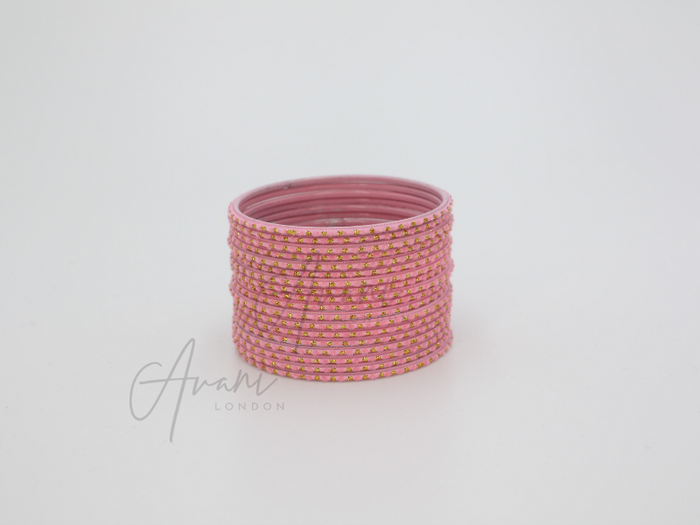 Avani London Matte Glitter Bangle Stack - Baby Pink (18 Bangles) | Avani London | Inspirational Indian Jewellery