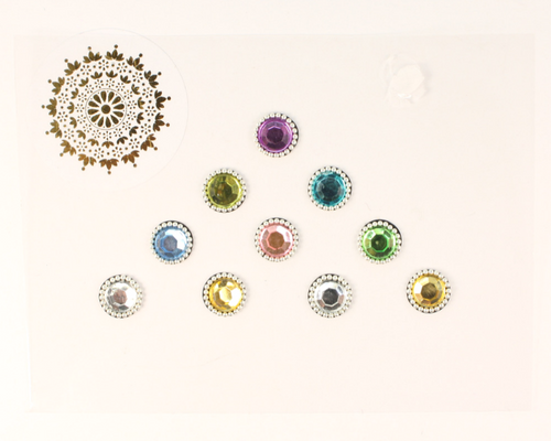 10 Multicoloured Pastel Gem Bindis with Silver Beading | Avani London | Inspirational Indian Jewellery