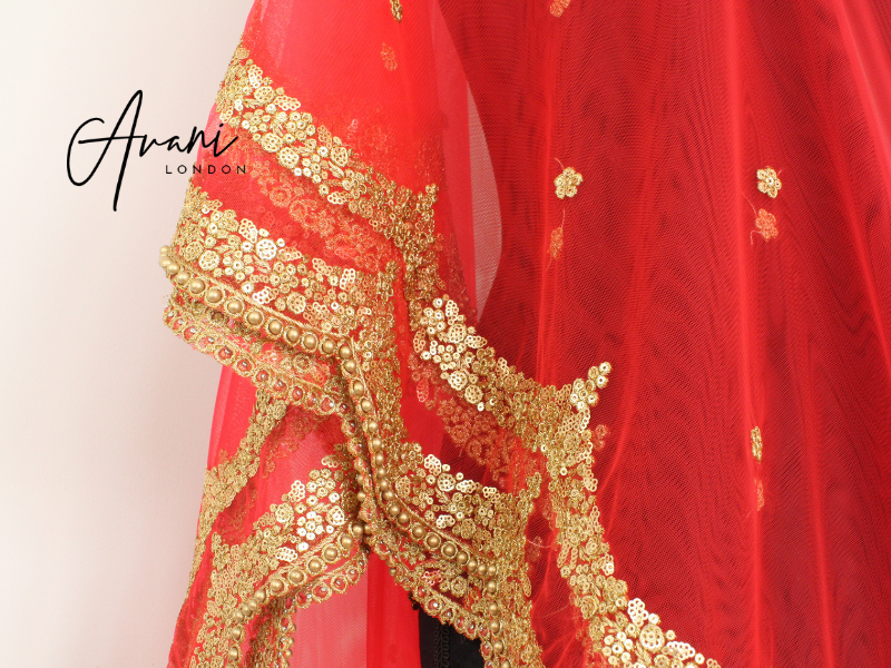 Red Soft Net Dupatta | Avani London | Inspirational Indian Jewellery