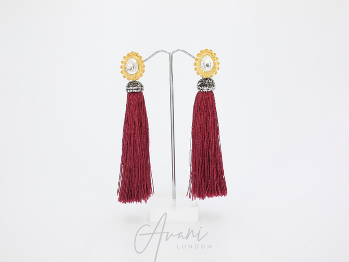 Teyana Burgundy Tassel Earrings | Avani London | Inspirational Indian Jewellery