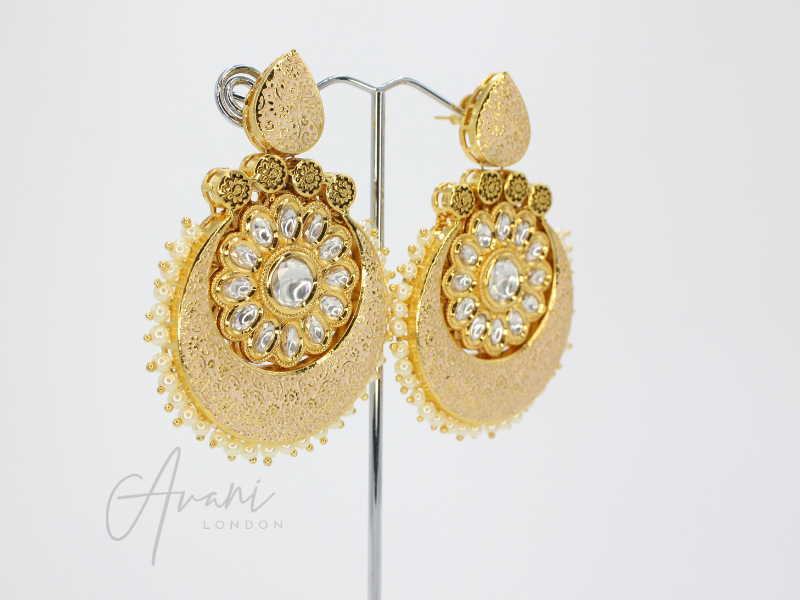 Nivani Signature Meenakari Cream Earrings | Avani London | Inspirational Indian Jewellery