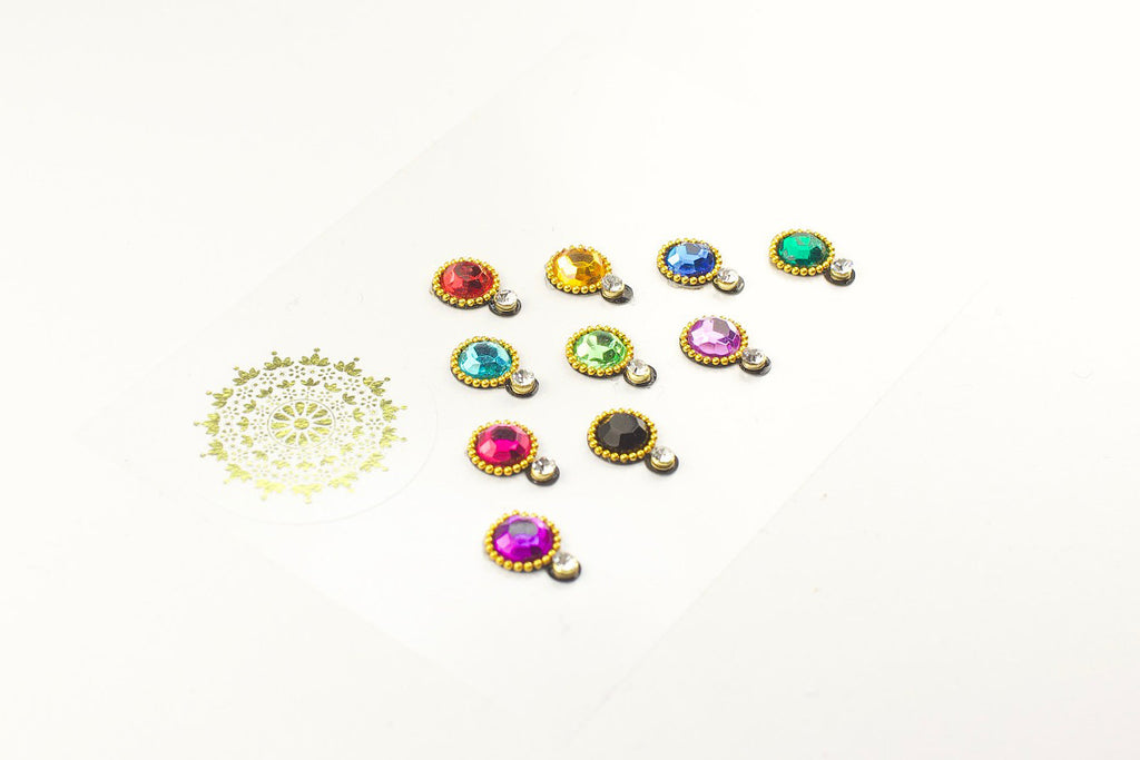 10 Multicoloured Two-Gem Bindis