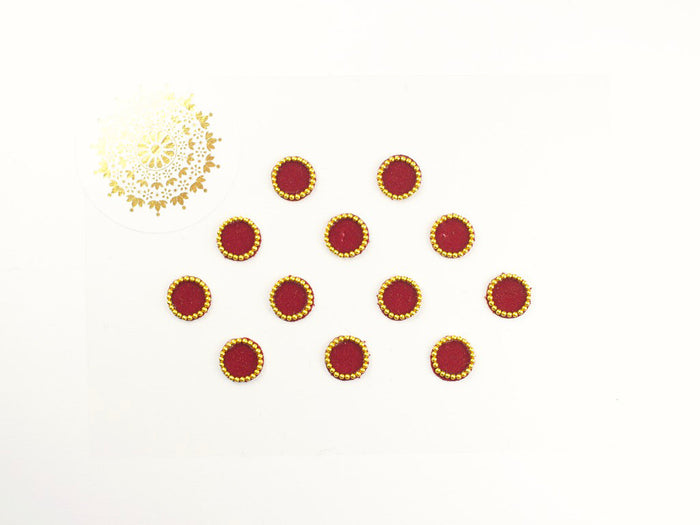 12 Burgundy Velvet Bindis | Avani London | Inspirational Indian Jewellery