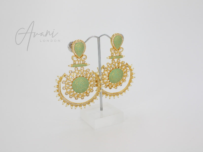 Roshni Signature Mint Kundan Earrings
