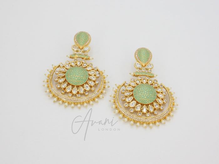 Roshni Signature Mint Kundan Earrings | Avani London | Inspirational Indian Jewellery