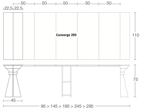 Spaceman Converge console table dimensions