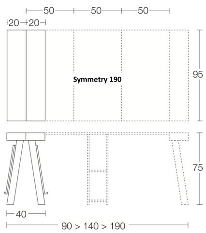 Spaceman Symmetry console table dimensions