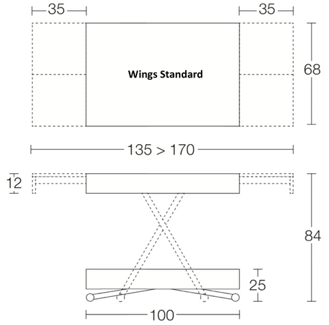 Spaceman Wings Standard coffee to dining table dimensions