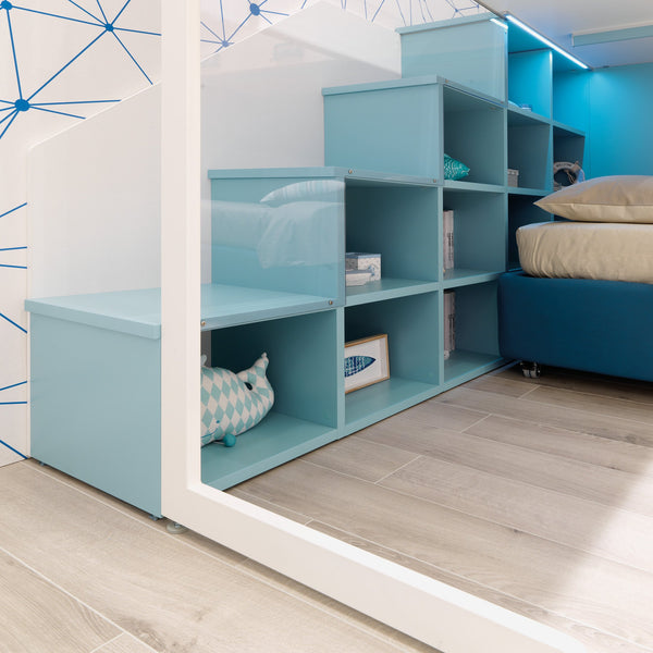 Boomerang ~ kids L-shaped loft bed + bookcase - Spaceman HK