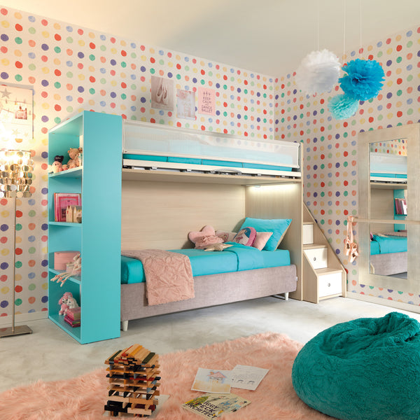 Maester ~ kids bunk beds + bookcase