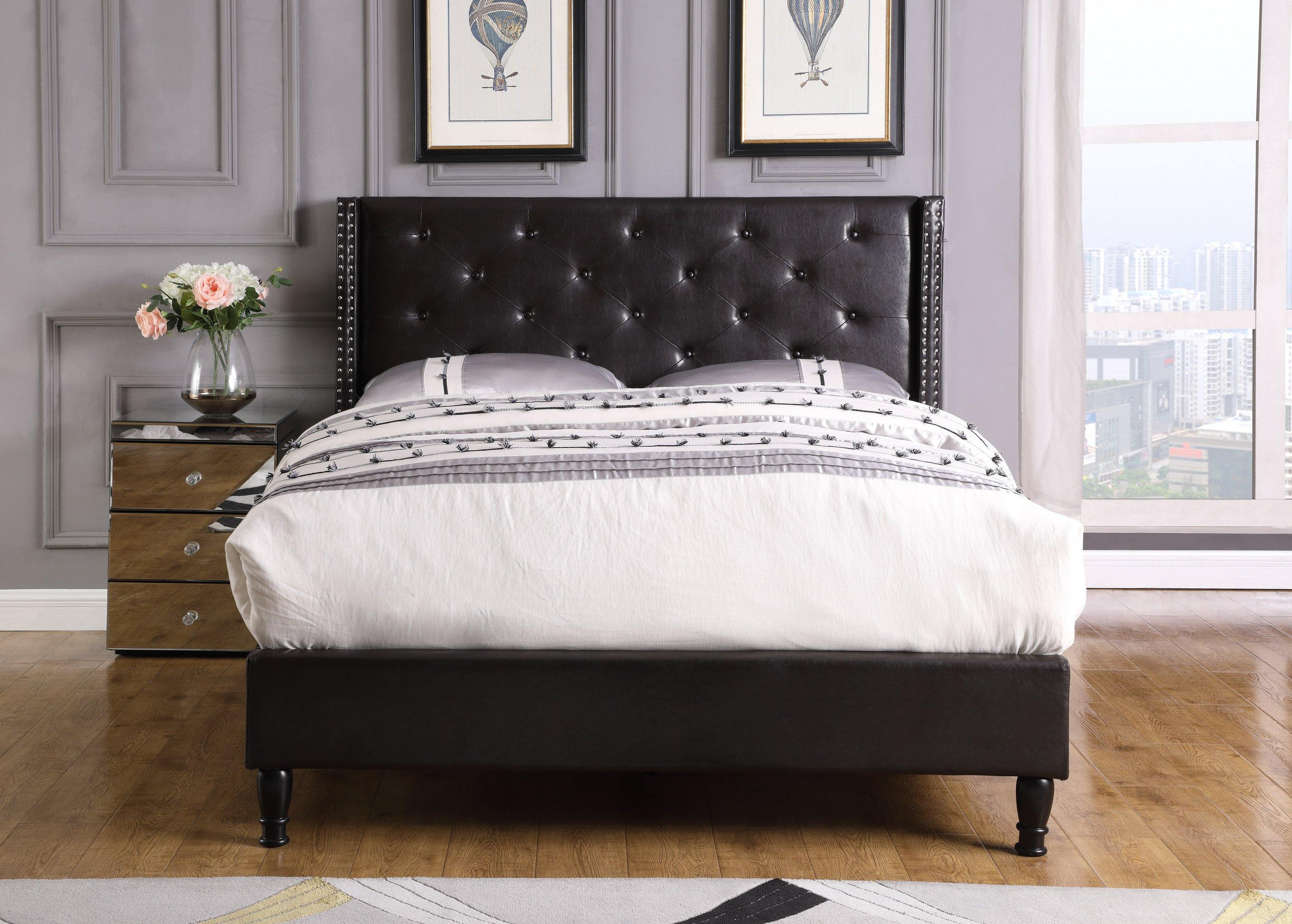 "HomeLife® 48"" Black Leather Headboard & Platform Bed"