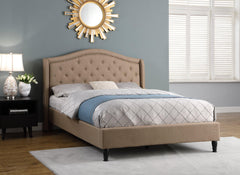 "HomeLife® 53"" Light Brown Curved & Diamond Tufted Headboard Platform Bed"