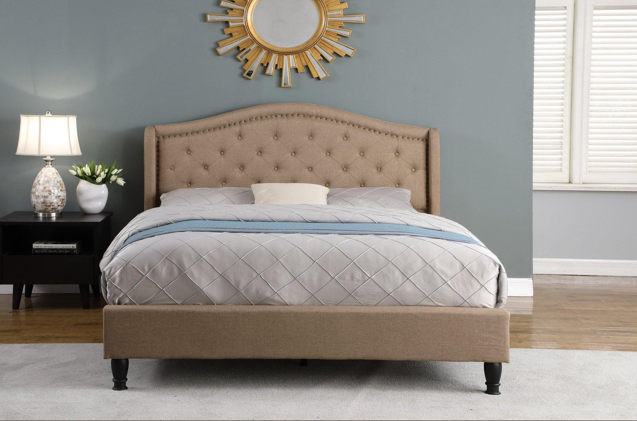 Monroe by HomeLife® Light Brown Linen Platform Bed Frame