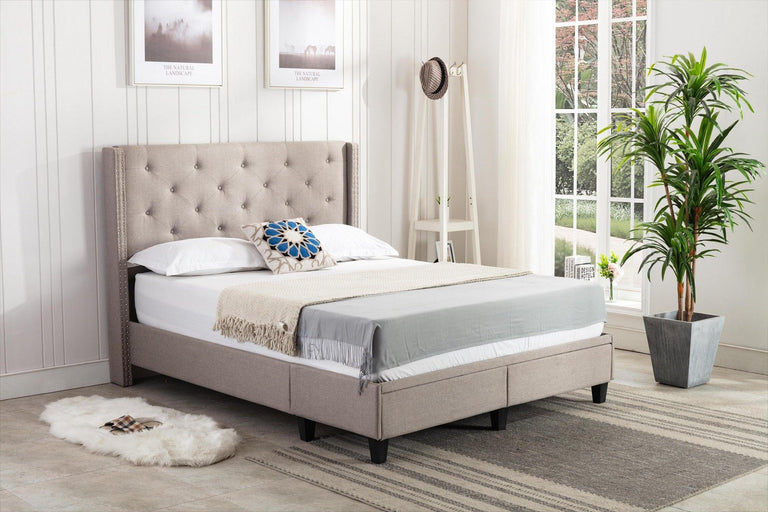 translation missing: en.Kingston by HomeLife® Light Grey Linen Platform Storage Bed Frame - HomeLife Company