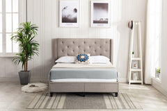 "HomeLife® 51"" Tall Light Grey Cloth Headboard & Platform Bed with 2 Drawer Storage"