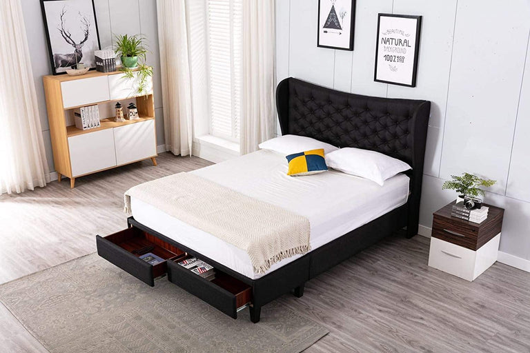 translation missing: en.Brielle by HomeLife® Black Linen Platform Storage Bed Frame - HomeLife Company