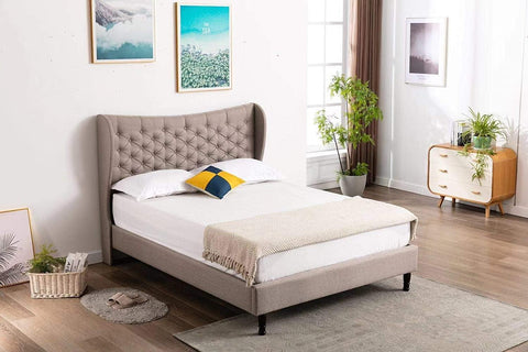 "HomeLife® 51"" Tall Light Grey Cloth Headboard & Platform Bed"