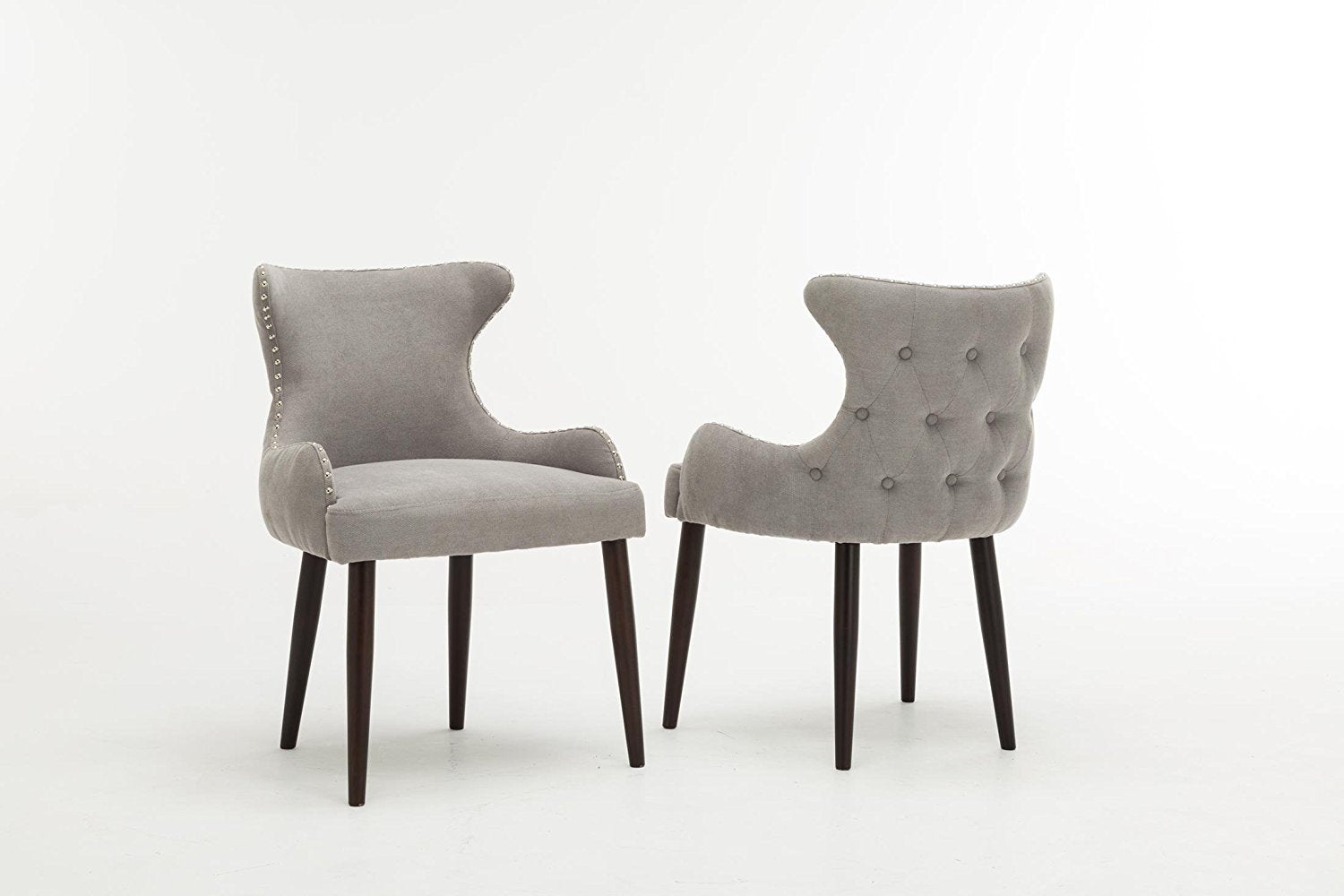 Oliver Smith® Grey Tufted And Nailed Contemporary Microfiber Chairs