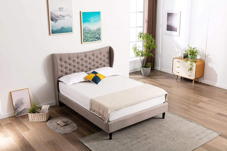 Leonia by HomeLife® Light Grey Linen Platform Bed Frame - HomeLife Company