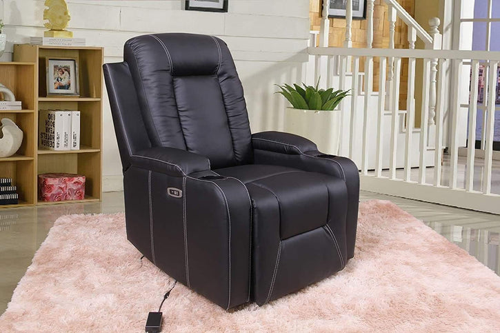 HomeLife® Ultra Relaxation Power Black Recliner Chair with Cup Holders + USB - HomeLife Company