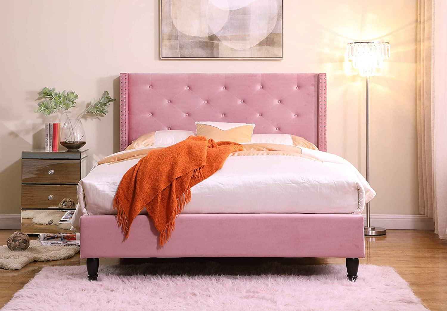 "HomeLife® 51"" Tall Pink Velour Headboard & Platform Bed"