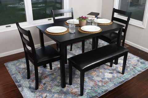 HomeLife® Black Faux Leather Dinette Set with Benches