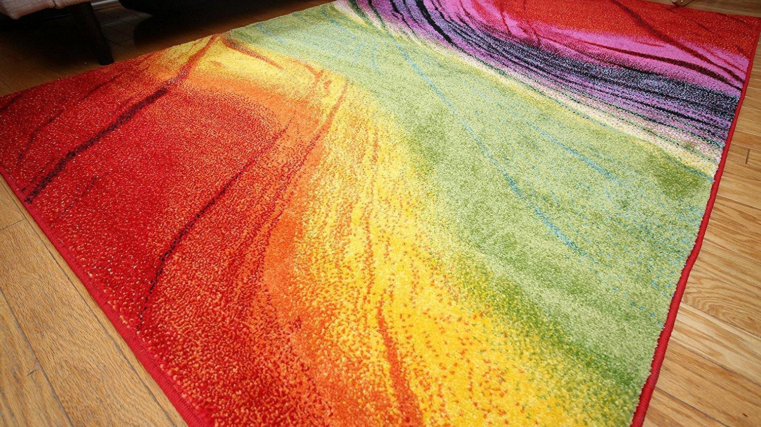 Radiance Art Collection Multicolor Gradient Waves Rug