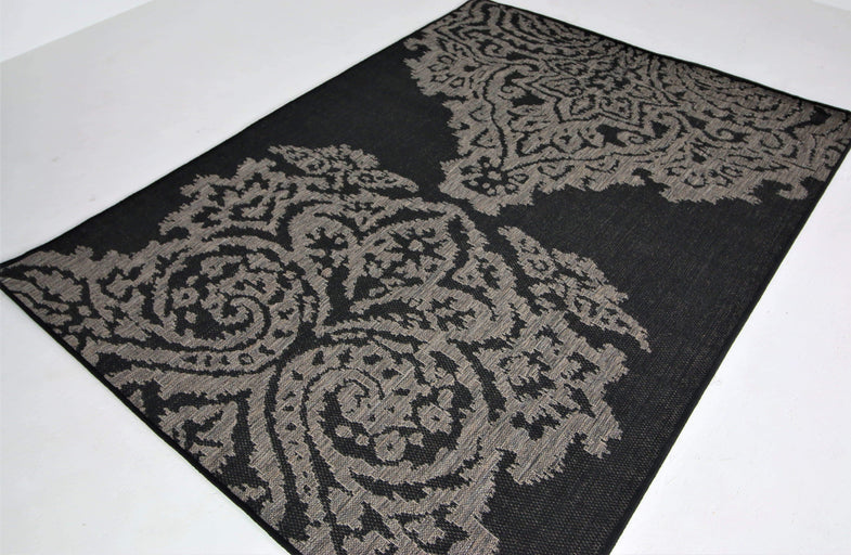 translation missing: en.Jute Collection® Black Damask Design Jute Area Rug - HomeLife Company