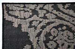 Jute Collection® Black Damask Design Jute Area Rug