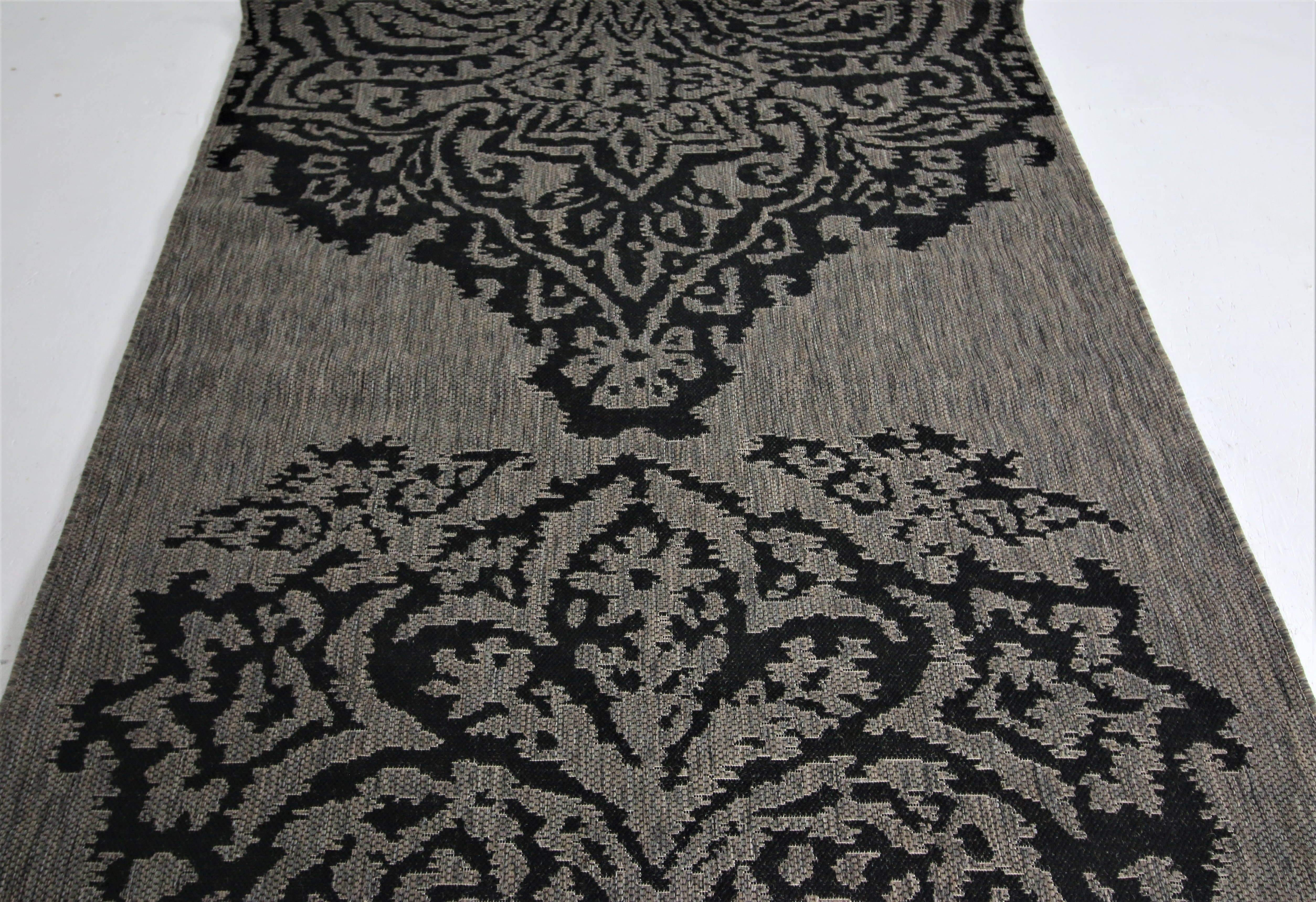 Jute Collection® Grey Damask Design Jute Area Rug