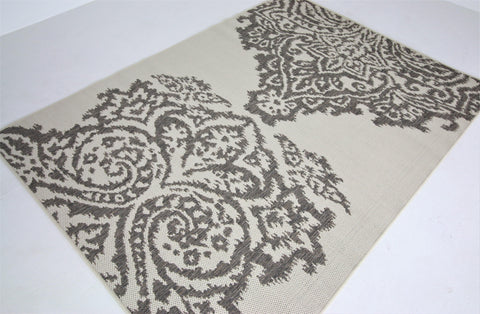 Jute Collection® Ivory Damask Design Jute Area Rug