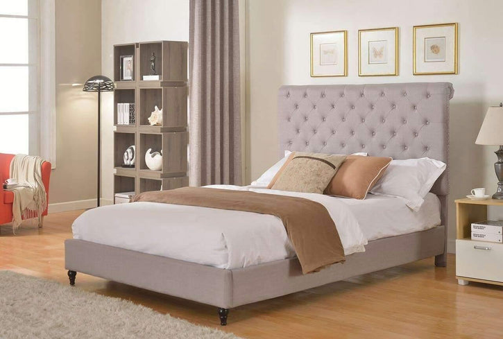 "HomeLife® 48"" Light Grey Studded Platform Bed Frame - HomeLife Company"