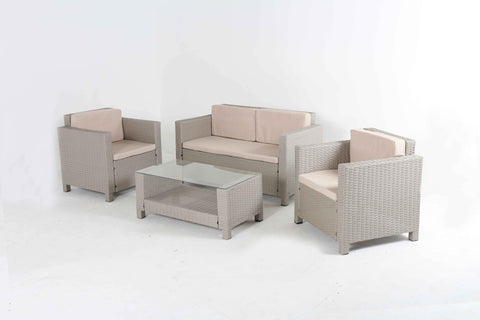 HomeLife® Taupe & Beige Rattan Wicker Outdoor Sectional