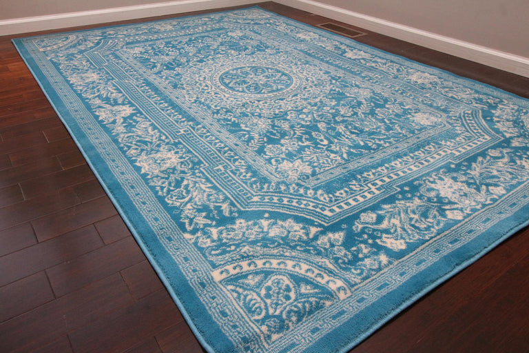 translation missing: en.Feraghan Transitional Light Blue French Floral Area Rug - HomeLife Company