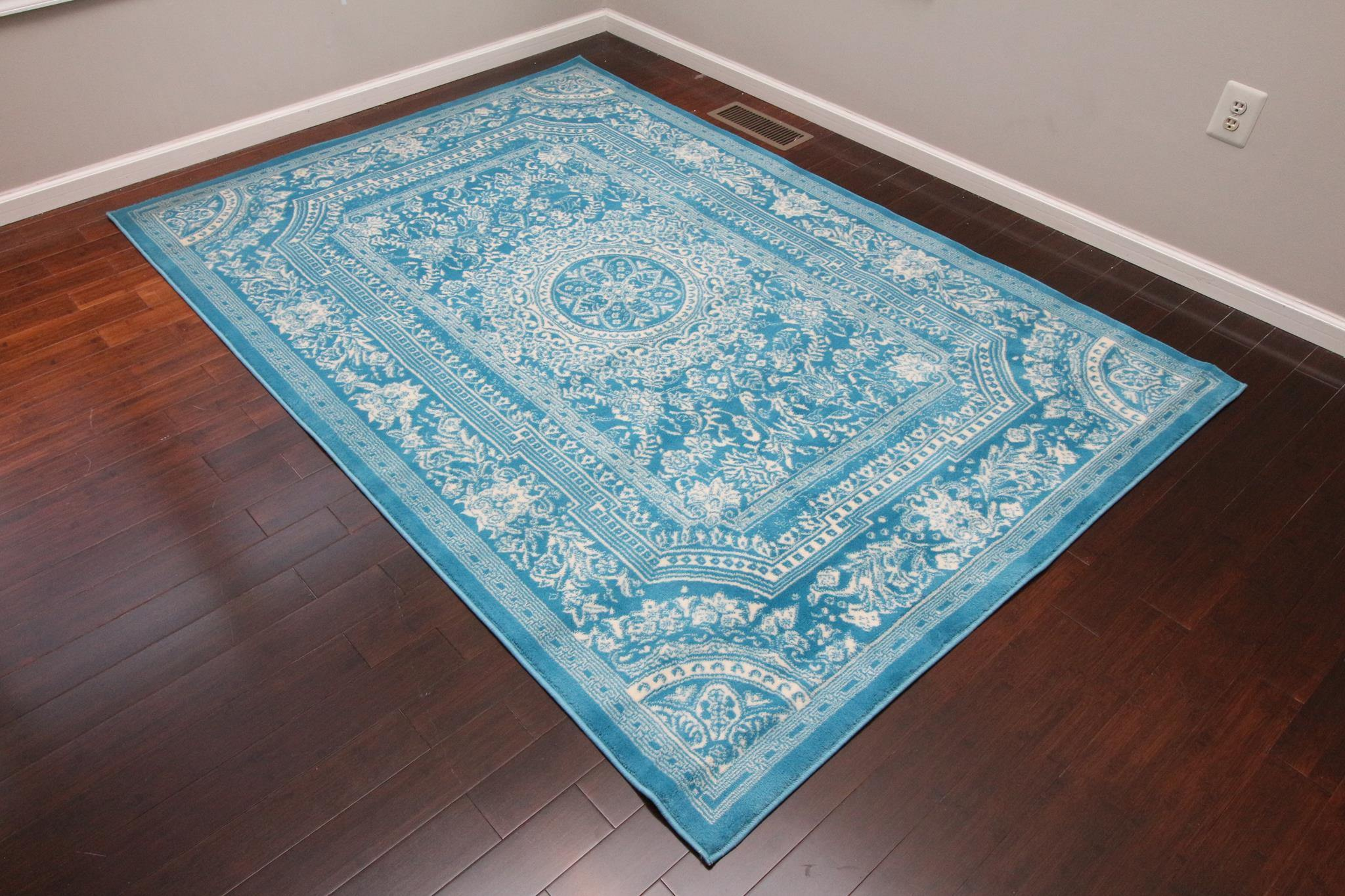 Feraghan Transitional Light Blue French Floral Area Rug