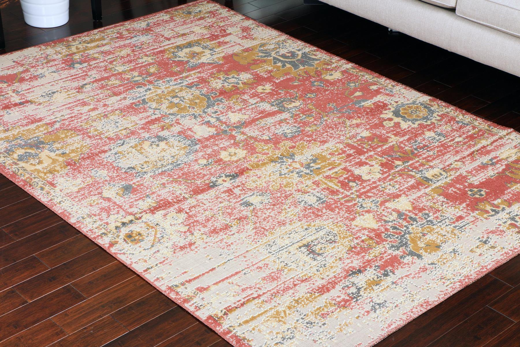 Rustic Red Colorful Worn Area Rug