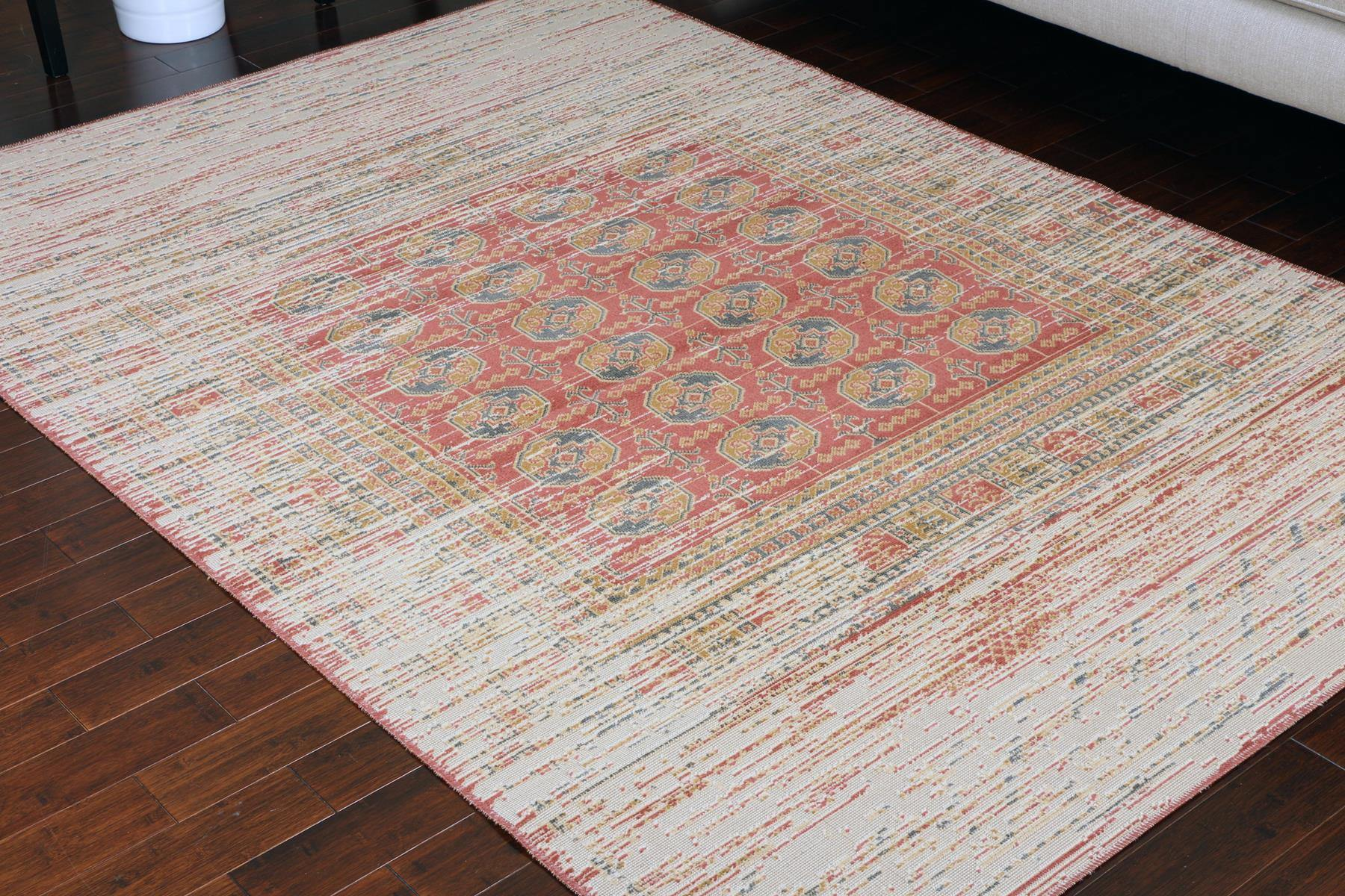 Rustic Beige Charcoal Red Worn Area Rug
