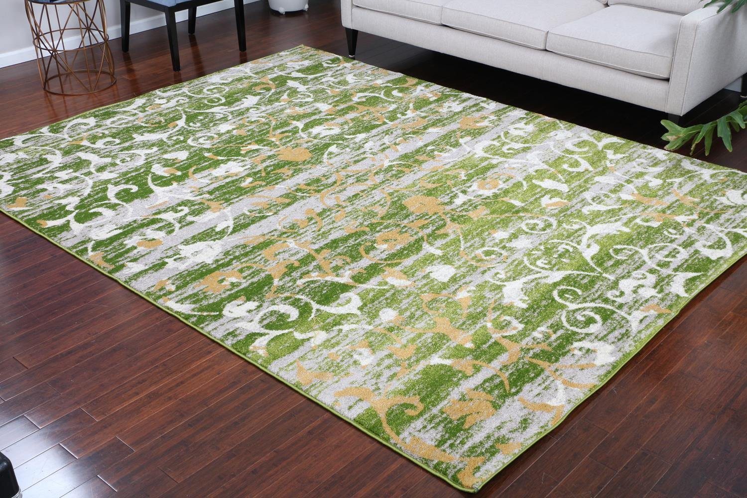 Paris Collection Oriental Cream Green Gold Area Rug