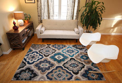 Generations New Contemporary Panal & Diamonds Beige Navy Coral Blue Grey Modern Area Rugs 8036