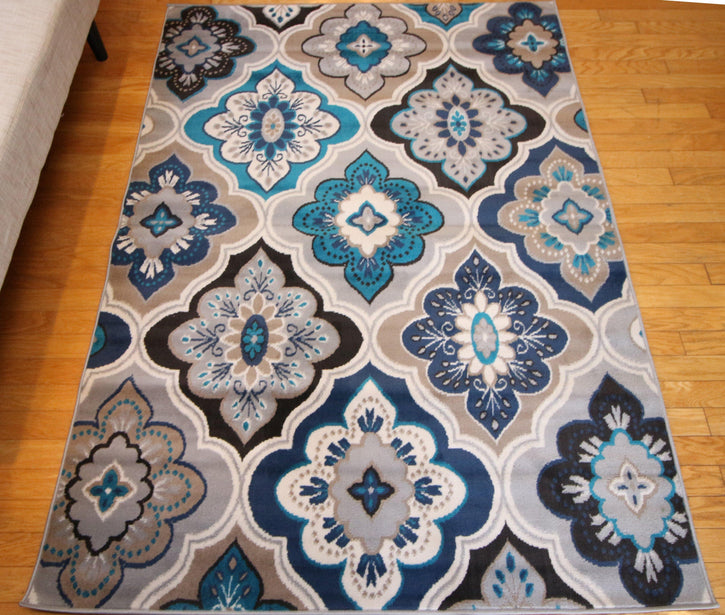 Generations New Contemporary Panal & Diamonds Beige Navy Coral Blue Grey Modern Area Rugs 8036 - HomeLife Company